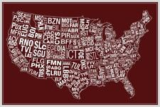 USA Airports Abbreviation Code Red inch Poster 24x36 inch