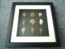 Paleolithic Arrowheads in 3D Picture Frame, Authentic Artifacts 70,000BC (T070)