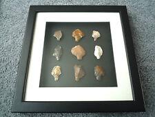 Paleolítica puntas de flecha en 3D Marco de foto, auténticos artefactos 70,000BC (T070)