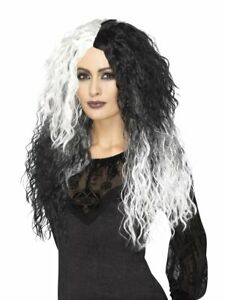 Smiffys Glam Witch Wig Black White Villain Wig Long & Wavy Cruella Accessory