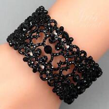 Black Alloy Jet Crystal Rhinestone Wedding Bangle Cuff Stretch Bracelet 05464
