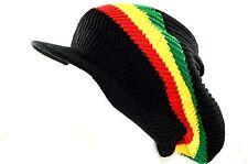 Long Beanie for long hair-rasta visor cap-black green yellow red