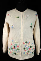 VINTAGE 1960'S WOOL KNIT BEADED PEARLED SILK FLOWER SWEATER SIZE SMALL-MEDIUM