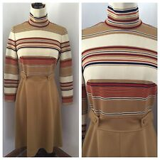 Vintage 70s Dress Stripe Camel Colored Fall Midi Length STUNNING Small