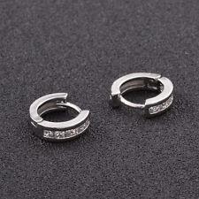 Shiny Rhodium Plated Princess Cubic Zirconia CZ Huggie Loop Hoop Earrings Gift