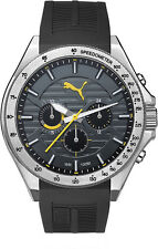 Men's PUMA Forward Black and Yellow Chronograph Silicone Watch PU104021002