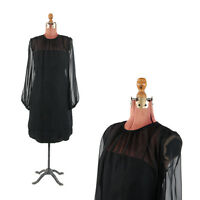 Vintage 60s Black Sheer Chiffon Cocktail Shift Party Balloon Sleeve Party Dress