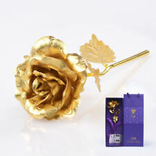 24K Gold Plated Rose Dipped Flowers Valentine's Day Gift Lovers' Birthday + Box
