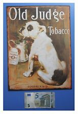"Targa vintage ""Old Judge Tobacco"" (cane bulldog con pipa), metallo, cm 33x25"