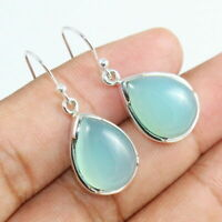 Solid 925 Sterling Silver aqua onyx Gemstone Dangle Earrings Jewelry