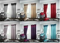 Faux Silk curtains La Mode Fully Lined Pair of Curtains Eyelet Ring Top Curtains