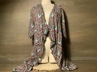 LuLaRoe Womens Shirley Kimono GREEN PINK WHITE MORE GEOMETRIC SIZE SMALL OPEN