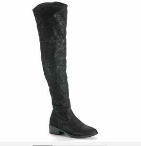 "Rock & Republic Women's Black ""Lasso"" Over The Knee Flat Boot Size 9 NEW"