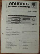 Cassette Player cf300 cbf300 ponte Grundig Service Manual Istruzioni di servizio