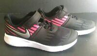 Girls Size 8,9,10 Sneakers BLACK PINK NIKE STAR RUNNER (PSV) 921442 Hook Loop