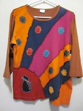Earth Hippy  Boho Unique patchwork kitty Cat Paws applique Shirt tunic Top L