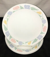 "5 Corelle FRIENDSHIP * PASTEL FLOWERS* 10 1/4"" DINNER PLATES*"