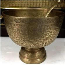 Khan Authentic Phan Brass size 7 inches With a Carved Patterned Ladle Handicraft