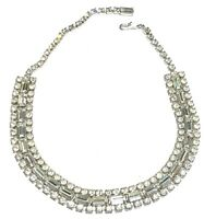 VINTAGE ART DECO STYLE FACETED CRYSTAL SILVER TONE NECKLACE