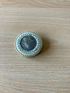 Antique Hot Needle Decorated Disc Shaped Pin Cushion/Mirror/Early 19th Century