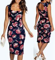New Ladies Womens Floral Sweetheart Midi Dress Sizes 8,10,12,14,16,18