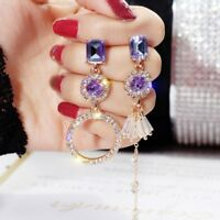 Charm Crystal Geometric Tassel Earrings Drop Dangle Womens Jewellery Gift Party