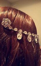 Handmade silver and rhinestone bridal headpiece / fascinator