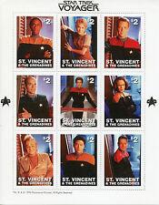 More details for st vincent & grenadines star trek stamps 1997 mnh voyager janeway tuvok 9v m/s