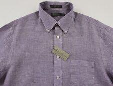 Men's DANIEL CREMIEUX Purple White Houndstooth Linen Shirt L Large NWT NEW