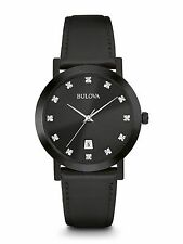 Bulova Men's 98D124 Diamond Markers Quartz Black Leather Strap Watch