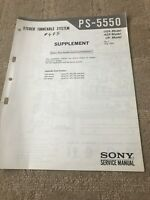 Sony PS-5550 Stereo Turntable System/Turntable Supplement Service Manual
