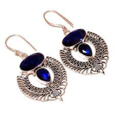 Blue Tanzanite Gemstone silver plated Handmade Oxidized Vintage Dangle Earrings