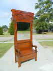 Fancy Oak Hall Tree with Storage Area and Lift Seat circa 1900