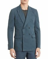 Calvin Klein Mens Sport Coat Blue Size Small S Weekday Double Breasted $198 #037