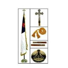 CHRISTIAN FLAG 3x5 ft Deluxe 7 ft 2pc Oak Pole Indoor Complete Presentation Set