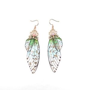 Romantic Fairy Simulation Insect Butterfly Wing Drop Earring Bridal Jewelry