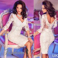 Ladies Womens Dress White Midi Bodycon Party Stretch Lace Celeb Long Size 12 14