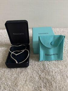 Tiffany&Co. Rare Sterling Silver Elsa Peretti Open Heart Hoop Earrings