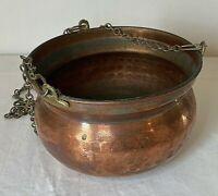 "Antique Vintage Hanging Hand Hammered Copper Bowl Pot Planter 31"" Total Height"