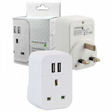 Energenie 3.15A Amp Fast Twin 2 Port USB Charger UK Mains Through Plug Adaptor