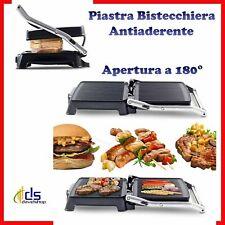 piastra bistecchiera griglia elettrica antiaderente doppia 180° cucina per toast