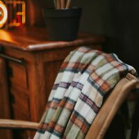 The Weaving Shed UK Wool Blanket Moss Green / Cinnamon Plaid Throw