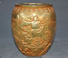 China bronze 24k gold Gilt people God Boy Tongzi statue Brush Pot portrait vase
