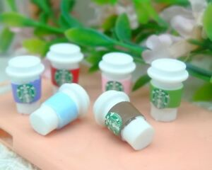 Miniature Dolls House Accessories 2 Starbucks Coffee Cups with lids 1:12th scale