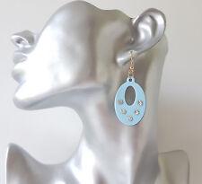 Pretty 4cm long blue & black acrylic & diamante - crystal oval drop earrings