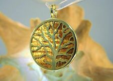 39mm Gold Plated On Brass Inlaid Hawaiian Koa Wood Reversible Coral Tree Pendant