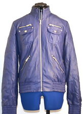 RUD by RUDSAK Full Zip Faux Leather Women's Bomber Jacket (Blue Violet) XL
