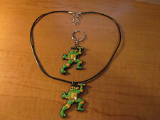 TMNT Michelangelo Necklace & Keychain Key Chain PVC Rubber FOB with Metal Ring