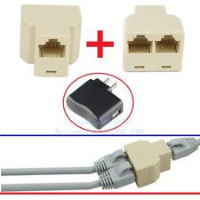 2 X RJ45 Splitter Adapter 1 to2 Dual Female Port CAT5 6 LAN Ethernet Connector