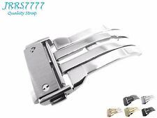24mm Watch Strap Deployment Stainless Steel Silver Solid Buckle Hublo Clasp New